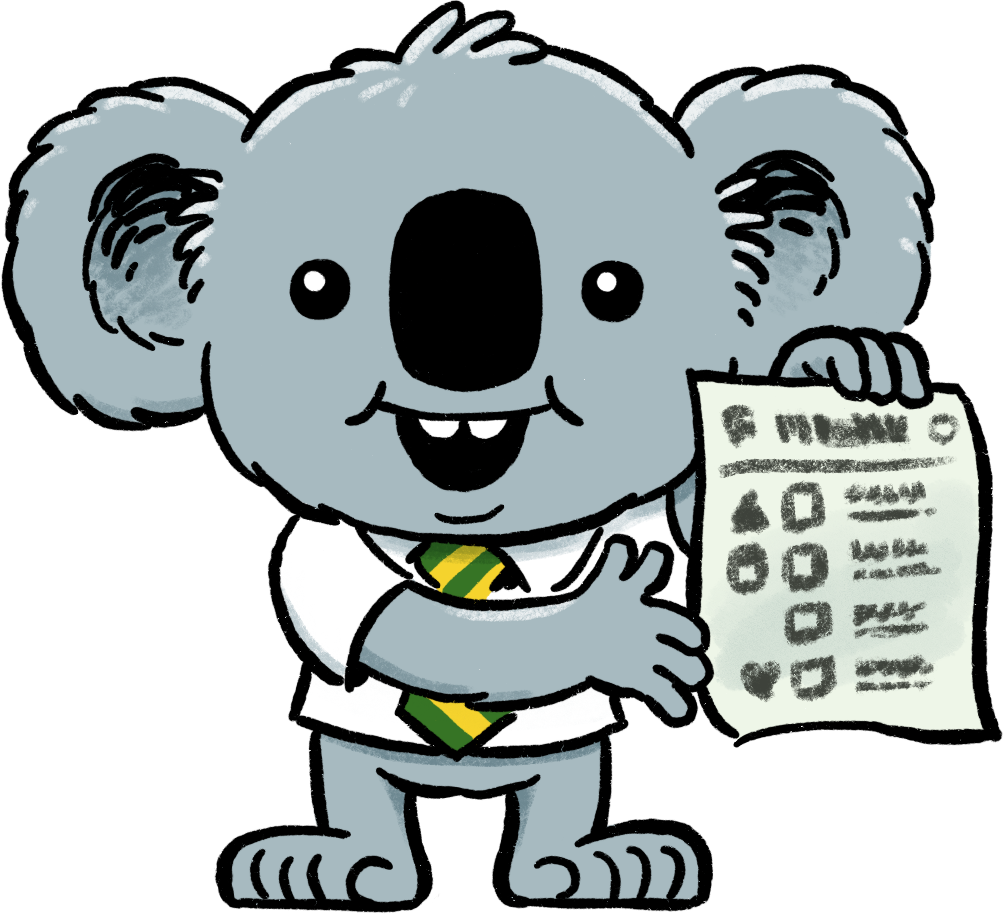 Dennis the Election Koala shows you a green ballot paper